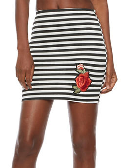 Striped Floral Patch Mini Skirt - 3062062415059