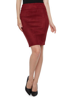 Faux Brushed Suede Pencil Skirt - 3062062415815