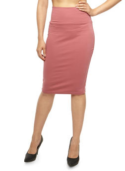 Solid Pencil Skirt with Back Slit - 3062062419495