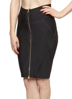 Zipper Front Bandage Pencil Skirt - 3062062709890