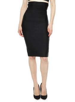 High Waisted Solid Bandage Pencil Skirt - 3062062709891
