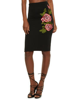 Flower Embroidered Pencil Skirt - 3062063400122