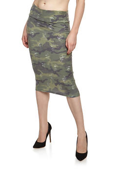 Distressed Camo Midi Skirt - 3062063404284