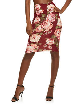 Floral Mid Length Pencil Skirt - 3062063408428