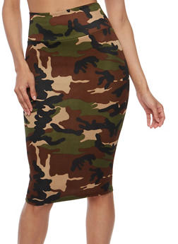 Camouflage Print Pencil Skirt - 3062074011473