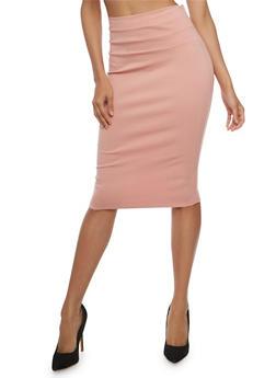 Ponte Knit Pencil Skirt - MAUVE - 3062074011483
