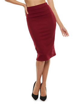 Ponte Knit Pencil Skirt - BURGUNDY - 3062074011483