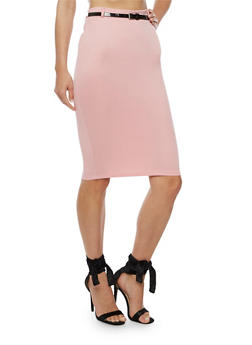 Solid Pencil Skirt with Belt - 3062074011489
