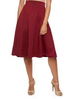 Solid Skater Skirt - BURGUNDY - 3062074011490