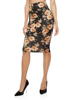 Floral Midi Pencil Skirt - 3062074011498