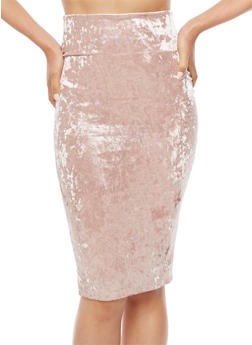 Crushed Velvet Midi Skirt - 3062074011505