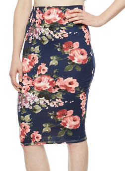 Rose Print Soft Knit Pencil Skirt - 3062074011511