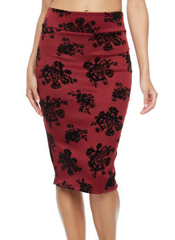 Velvet Floral Print Midi Pencil Skirt - BURGUNDY - 3062074011515