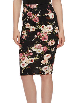 Floral Textured Knit Pencil Skirt - 3062074016148