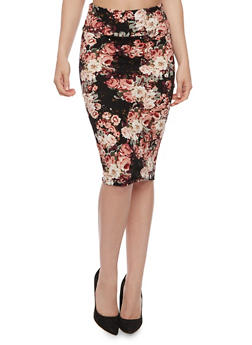 Floral Textured Knit Pencil Skirt - 3062074016148