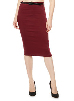 Solid Pencil Skirt with Belt - 3062074016150