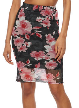 Floral Mesh Pencil Skirt - 3062074016151