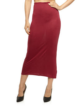 Solid Print Maxi Skirt - BURGUNDY - 3062074016262
