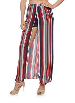 Striped Maxi Skirt with Shorts Underlay - 3062074019497