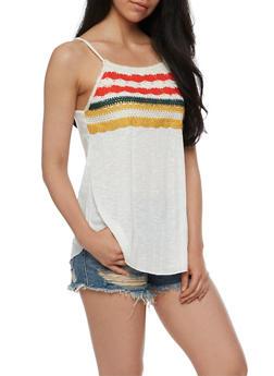 Multicolored Crochet Yoke Tank Top - 3064015996452