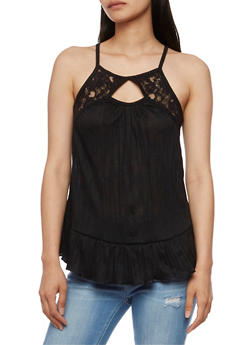 Gauze Knit Tank Top with Lace Detail - 3064015998320