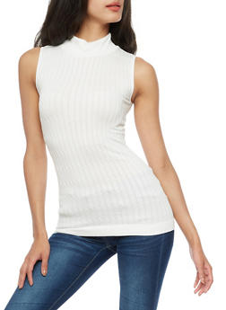 Sleeveless Cable Knit Sweater - IVORY - 3064038342003