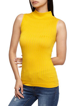 Sleeveless Cable Knit Sweater - MUSTARD - 3064038342003