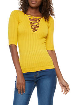 Sleeveless High Neck Ribbed Knit Top - 3064038342004
