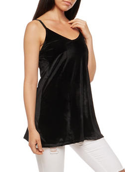 Velvet V Neck Tunic Cami - BLACK - 3064038342450