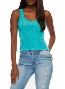 Shiny Textured Tank Top - 3064038347412