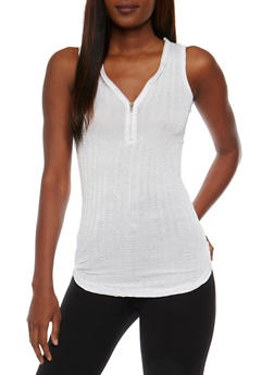 Shiny Zip Front Tank Top - WHITE - 3064038347414