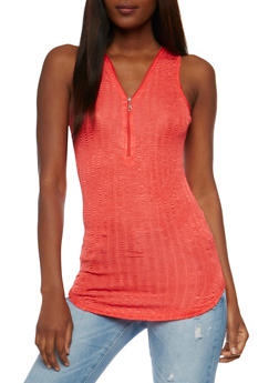 Shiny Zip Front Tank Top - 3064038347414