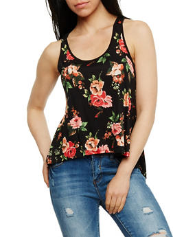 Floral Tank Top with Split Lace Back - 3064054268133