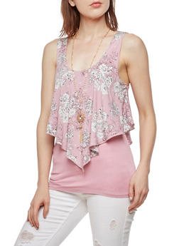 Floral Overlay Tank Top with Necklace - 3064058750204