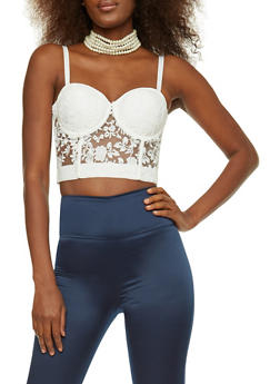 Embroidered Lace Bustier - 3064058750304