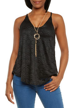 Lace Tank Top with Necklace - 3064058754993