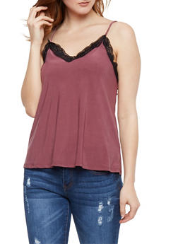 Satin Cami with Lace Trim - 3064058757412