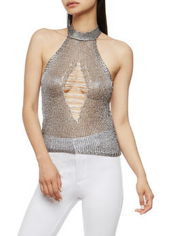 Metallic Knit Shredded Halter Top - 3064058757535