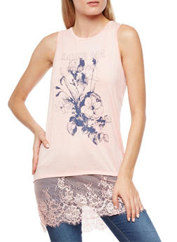 Love Me Forever Graphic Lace Hem Top - 3064058757941