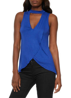 Sleeveless V Neck Choker Top - 3064058758165