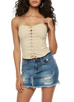 Lace Up Bustier with Zip Back - 3064058758884