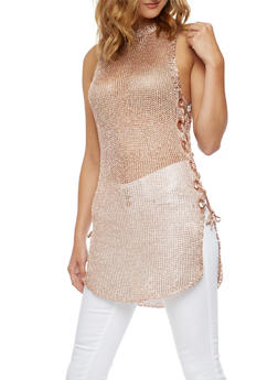 Sleeveless Knit Top with Lace Up Sides - 3064058759317