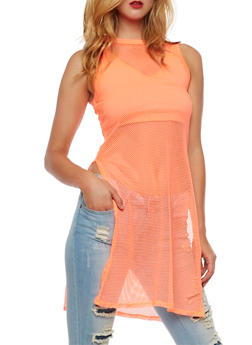 Fishnet Sleeveless Maxi Tank Top - 3064058759541
