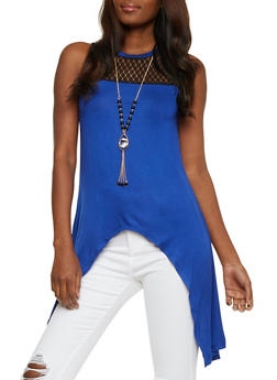 Lace Yoke Sharkbite Top with Necklace - 3064058759560