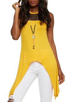 Lace Yoke Sharkbite Top with Necklace - BLK/MUSTARD - 3064058759560