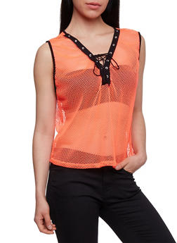 Sleeveless Lace Up Mesh Top - 3064067330027