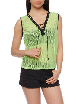 Sleeveless Lace Up Mesh Top - NEON LIME - 3064067330027