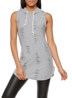 Sleeveless Destroyed Hooded Tunic Top - 3064067330100