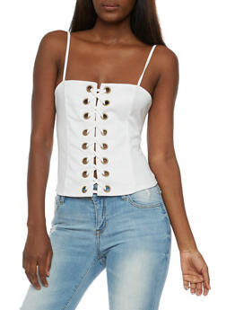 Soft Knit Lace Up Bustier - WHITE - 3064067330125