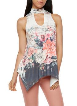 Sleeveless Floral Asymmetrical Top - 3064067330882